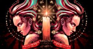 有火花的双子星座从眼睛和蜡烛 向量例证
