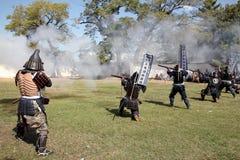 有火锁步枪的日本武士 免版税库存图片