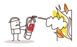 有灭火器的消防员 库存例证