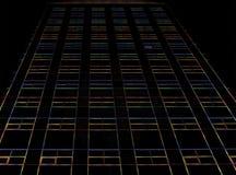 有灯光管制线的黑暗的摩天大楼 库存图片