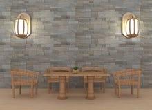 有灯内部的现代dinning的室在3D翻译 免版税库存照片