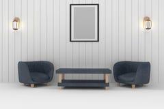 有灯和框架照片的双重沙发在3D翻译的绝尘室室内设计 库存照片