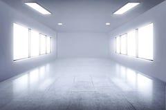 有灯和窗口的空的绝尘室 免版税图库摄影