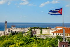 有灯塔、大炮和古巴fla的El Morro西班牙堡垒 免版税图库摄影