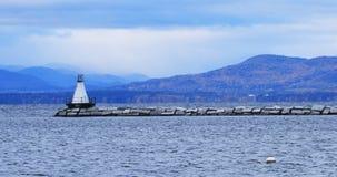 有灯塔的4K伯灵屯,佛蒙特港口 影视素材