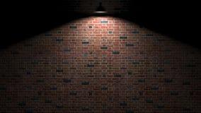 有灯的黑暗的墙壁在3d翻译上 免版税库存图片