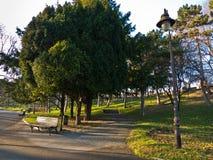 有灯笼的人行道和树在Kalemegdan的一个晴天停放 免版税库存图片