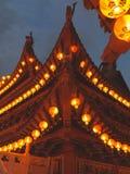 有灯笼的寺庙在农历新年jn马来西亚 免版税库存图片