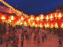 有灯笼的寺庙在农历新年jn马来西亚 免版税库存照片