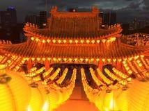 有灯笼的寺庙在农历新年jn马来西亚 免版税图库摄影