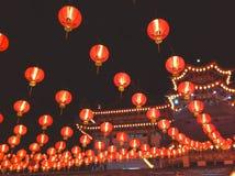 有灯笼的寺庙在农历新年jn马来西亚 库存照片