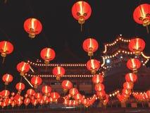 有灯笼的寺庙在农历新年jn马来西亚 库存图片