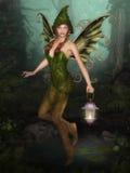 有灯笼的森林神仙 免版税库存图片