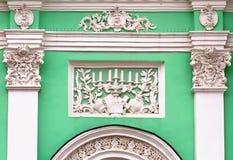 有灰泥的葡萄酒绿色墙壁 免版税图库摄影