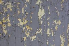 有灰色剥的油漆和黄色铁锈污点的老灰色金属墙壁 E 免版税库存照片