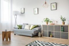 有灰色长沙发的客厅 免版税图库摄影