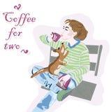 有灰鼠和咖啡的女孩 库存照片