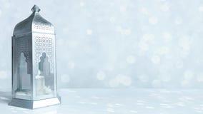 有灼烧的蜡烛和闪烁的银和蓝色背景的与bokeh光, oopable赖买丹月HD foo阿拉伯装饰灯笼 影视素材