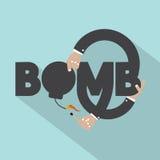 有炸弹印刷术设计的手 免版税库存图片