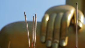 有烟的轻的香火棍子在佛教寺庙 泰国 芭达亚 股票视频