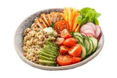 有烤鸡、菜和奎奴亚藜的健康午餐碗 免版税图库摄影