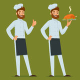 有烤鸡的厨师 免版税库存照片