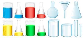 有烧杯和管的科学设备 向量例证