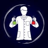 有烧瓶化学制品的科学家 皇族释放例证