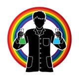有烧瓶化学制品的科学家 向量例证