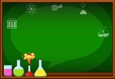 有烧瓶和化学制品的黑板 库存例证