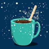 有热巧克力圣诞节魔术的杯子 库存照片