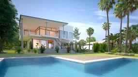 有热带庭院和水池的豪华房子 向量例证