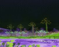 有热带树的湖在岸 晚上 向量例证