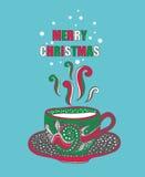 有热的饮料的手拉的圣诞节杯子 图库摄影