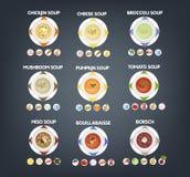 有热的鲜美汤集合的碗 皇族释放例证