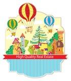 有热空气气球卡片的城市镇 向量例证