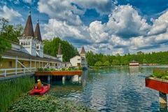 有热水的Heviz热量湖在匈牙利 库存照片