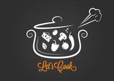 有烹调在黑暗的背景的食品成分的平底深锅商标 库存例证