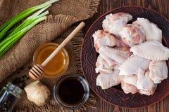 有烹调的成份未加工的鸡翅 库存照片