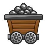 有煤炭的矿推车 免版税库存图片
