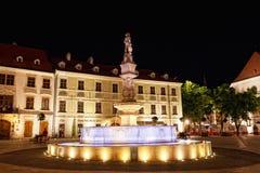 有照明的喷泉在一个中心广场在晚上在布拉索夫 免版税图库摄影