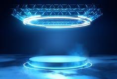 有照明设备的未来派阶段平台 库存例证
