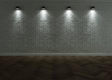 有照明设备的白色砖墙 免版税库存图片