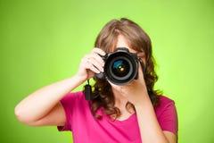有照相机的摄影师 免版税库存照片