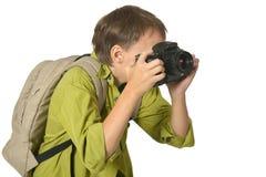 有照相机的男孩 免版税库存照片