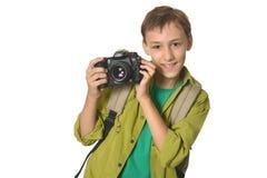 有照相机的男孩 免版税库存图片