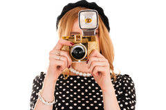 有照相机的年轻时尚摄影师 免版税库存图片