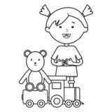 有熊女用连杉衬裤和火车的逗人喜爱的女孩 皇族释放例证