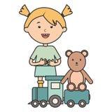 有熊女用连杉衬裤和火车的逗人喜爱的女孩 向量例证