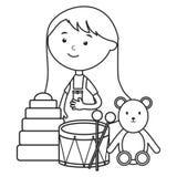 有熊女用连杉衬裤和鼓的逗人喜爱的女孩 皇族释放例证
